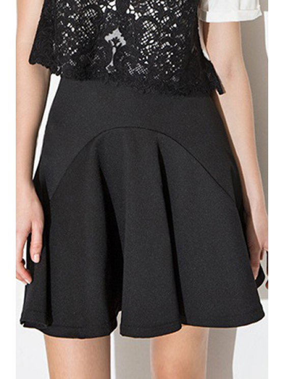 women High-Waisted Black Spliced Mini Skirt - BLACK S