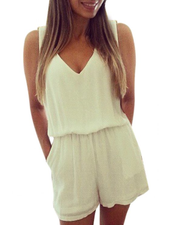 outfit V-Neck Backless Lace Splicing Romper - WHITE S