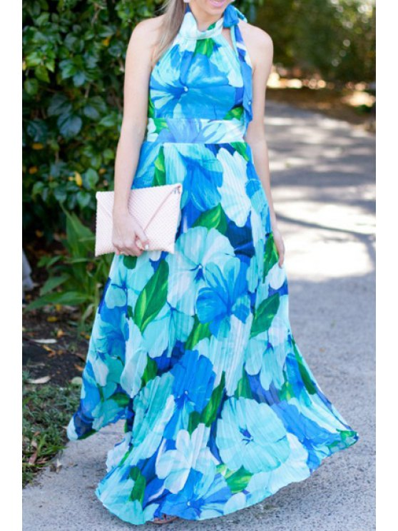 outfit Halter Neck Tie Up Floral Print Dress - BLUE AND GREEN M