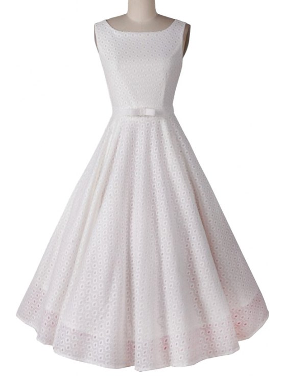 outfit Polka Dot Ball Gown Sleeveless Dress - WHITE M