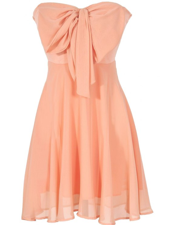 chic Strappless Bowknot Splicing Sleeveless Dress - ORANGE S