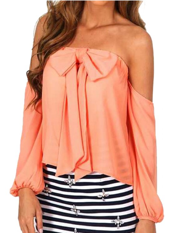 fancy Strappless Bowknot Solid Color Long Sleeve Blouse - JACINTH S