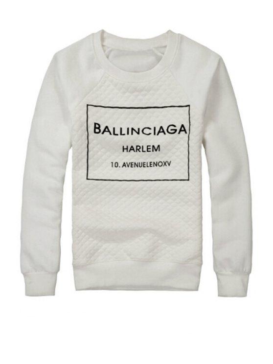 ladies Black Letter Print Sweatshirt - WHITE S