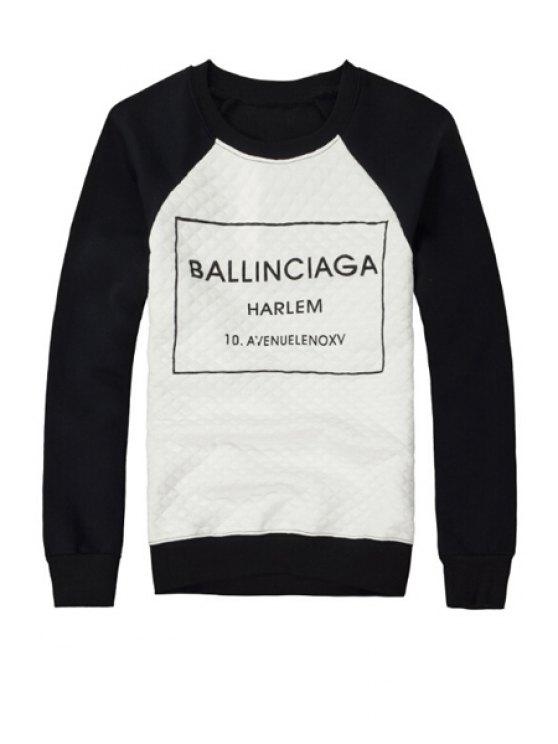 fancy Black Letter Print Sweatshirt - BLACK XL