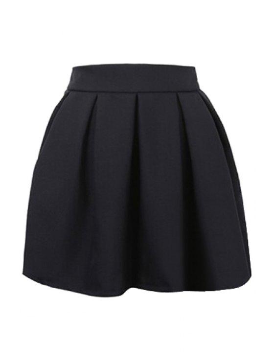 hot Solid Color Zipper Fly Skirt - BLACK S