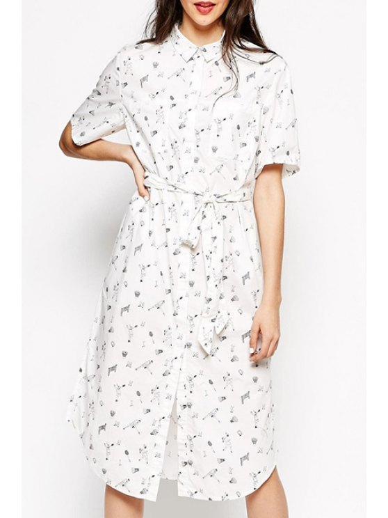 outfit Shirt Collar Character Print Midi Dress - WHITE S
