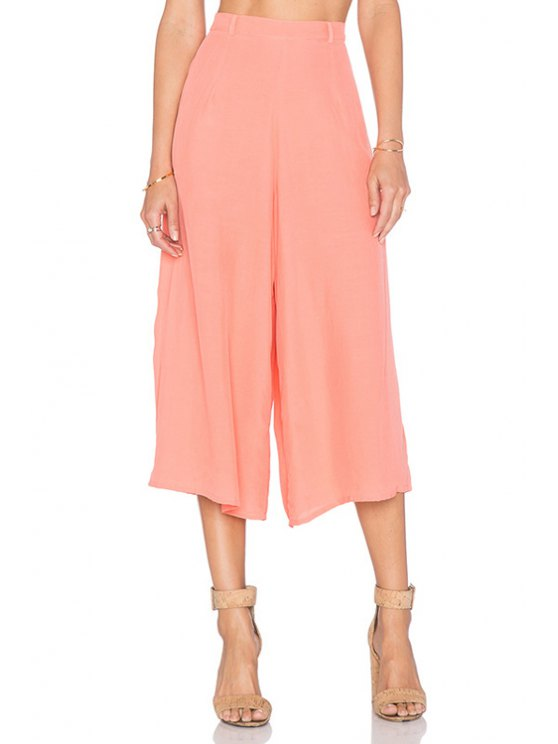 unique Pink Wide Leg Capri Pants - PINK S