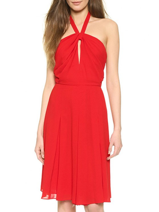 buy Halter Neck Hollow Out Red Sundress - RED S