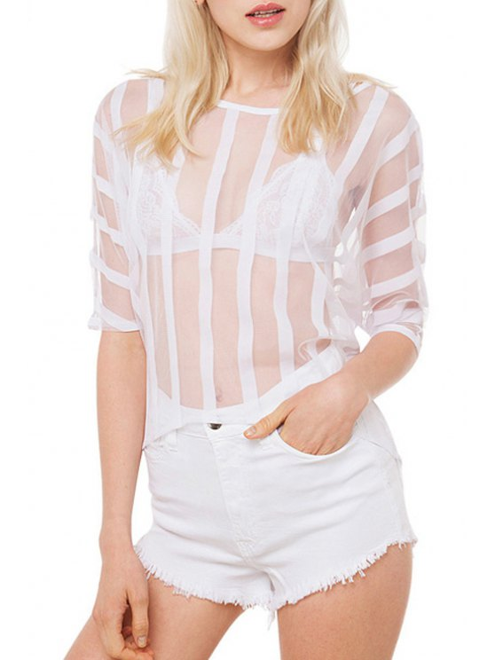 chic White Denim High Waisted Shorts - WHITE S