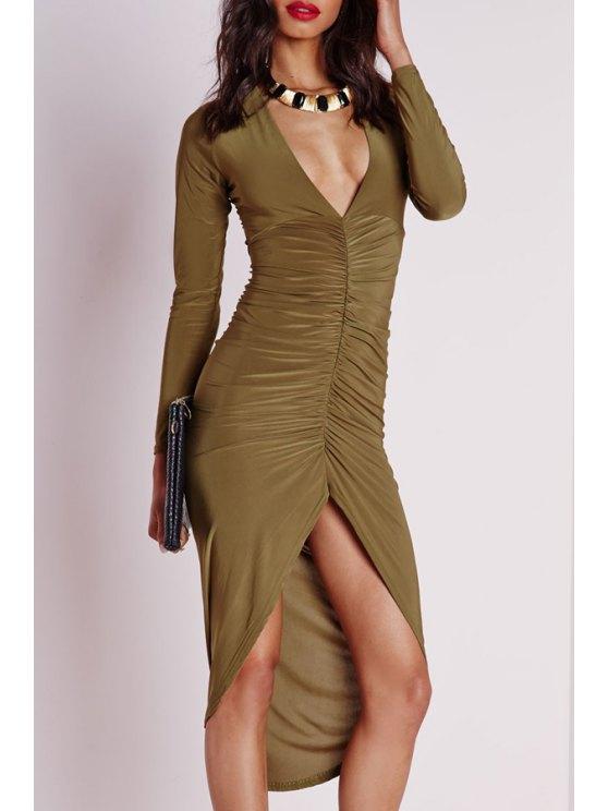 womens Long Sleeve Ruched Irregular Hem Bodycon Dress - KHAKI S