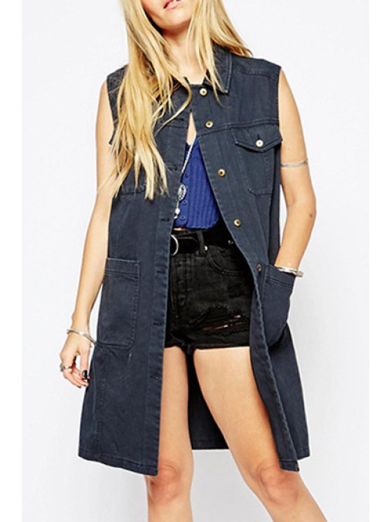 affordable Denim Turn Down Collar Sleeveless Trench - GRAY S