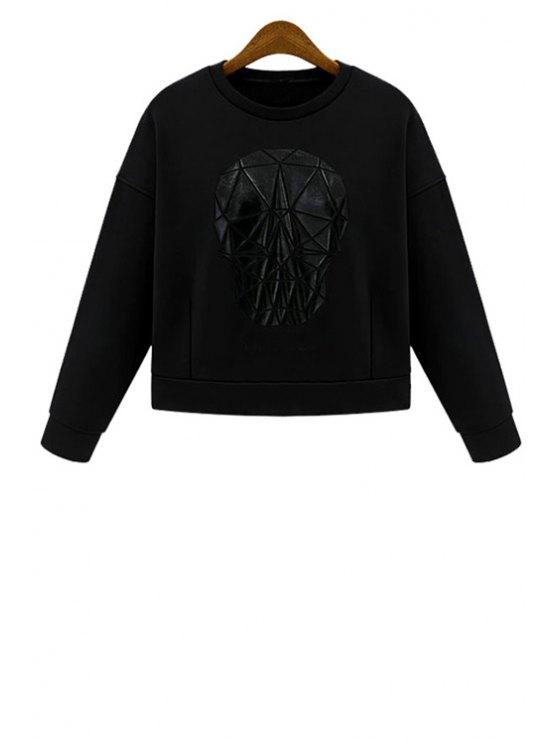 sale Jewel Neck Skull Pattern Long Sleeve Sweatshirt - BLACK S
