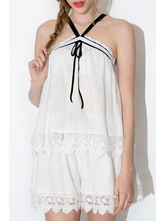 online Spaghetti Strap Crisscross Lace Tank Top - WHITE S
