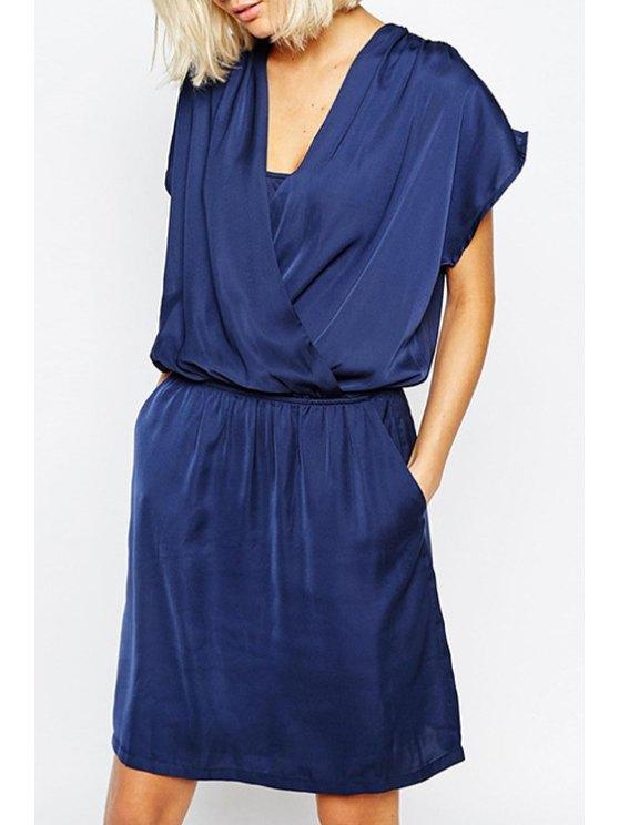 latest Blue V Neck Short Sleeve Dress - BLUE S