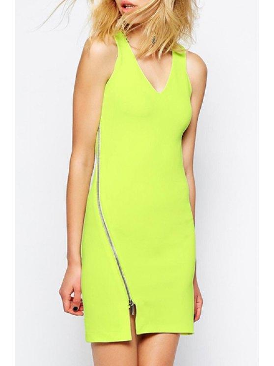 lady Zipper Embellished Neon Green Bodycon Dress - NEON GREEN S