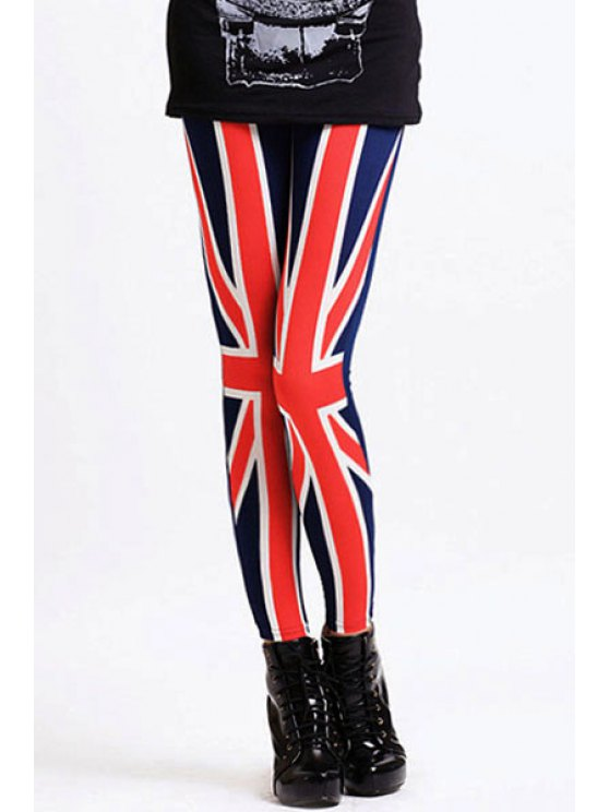 ladies Union Jack Pattern Legging - BLUE AND RED ONE SIZE(FIT SIZE XS TO M)