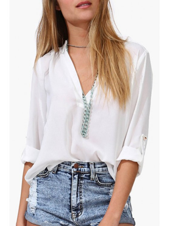outfits Rolled Sleeve Loose-Fitting Chiffon Shirt - WHITE S