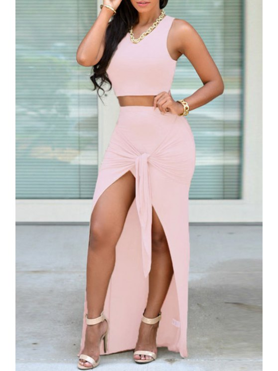outfit Solid Color Crop Top + Tie Knot Skirt - PINK ONE SIZE(FIT SIZE XS TO M)