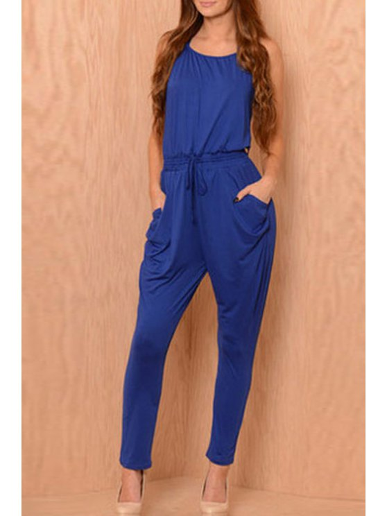 trendy Backless Tie-Up Sleeveless Jumpsuit - BLUE ONE SIZE(FIT SIZE XS TO M)