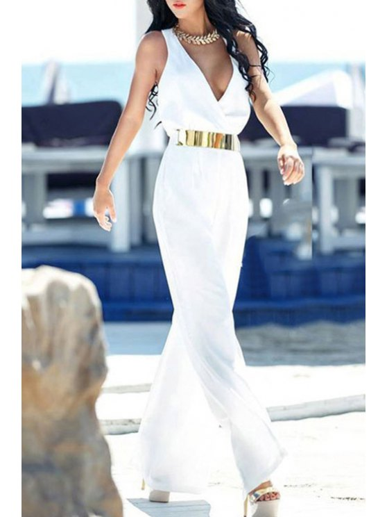 fashion Deep V Neck Backless Sleeveless Jumpsuit - WHITE ONE SIZE(FIT SIZE XS TO M)