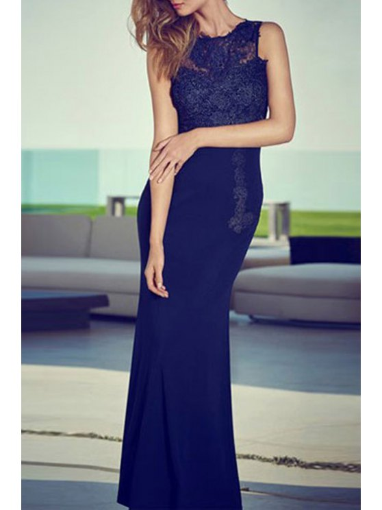 shop Jewel Neck Lace Splicing Backless Dress - BLACK M