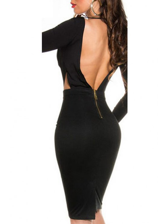 buy Scoop Neck Backless Zipper Long Sleeve Dress - BLACK ONE SIZE(FIT SIZE XS TO M)