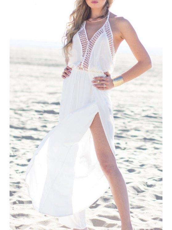 buy Spaghetti Strap High Slit Maxi Dress - WHITE ONE SIZE(FIT SIZE XS TO M)