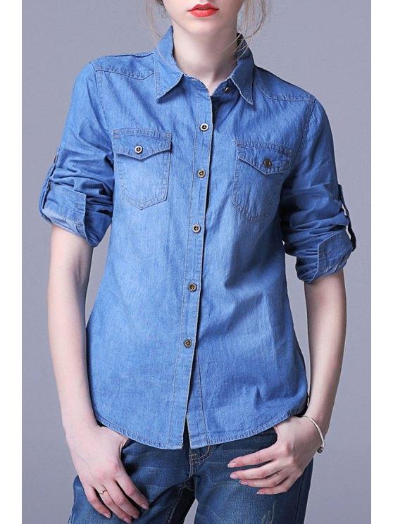 trendy Draped Sleeve Button Down Chambray Shirt - DEEP BLUE M