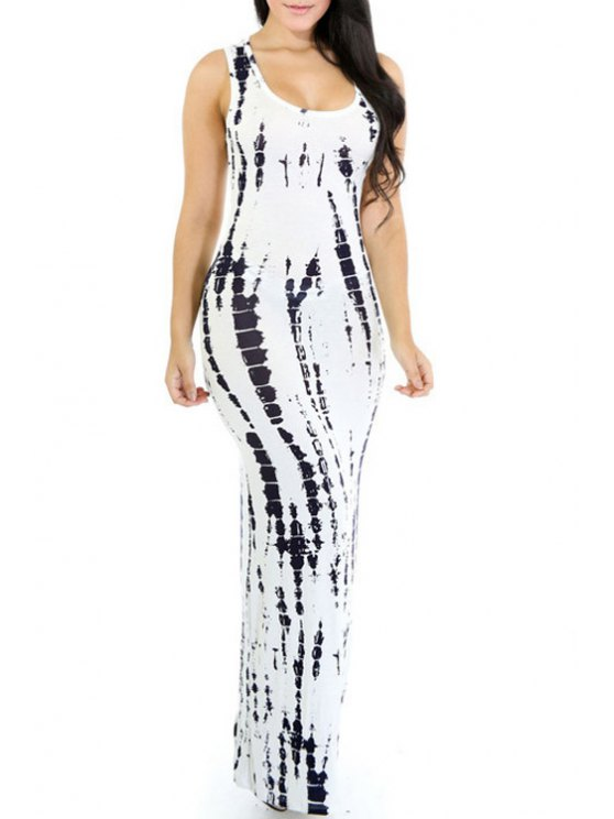 latest Scoop Neck Black Plaid Print Sleeveless Dress - WHITE ONE SIZE(FIT SIZE XS TO M)