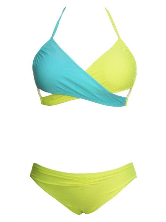 ladies Halter Color Block Low-Waisted Bikini Set - YELLOW S