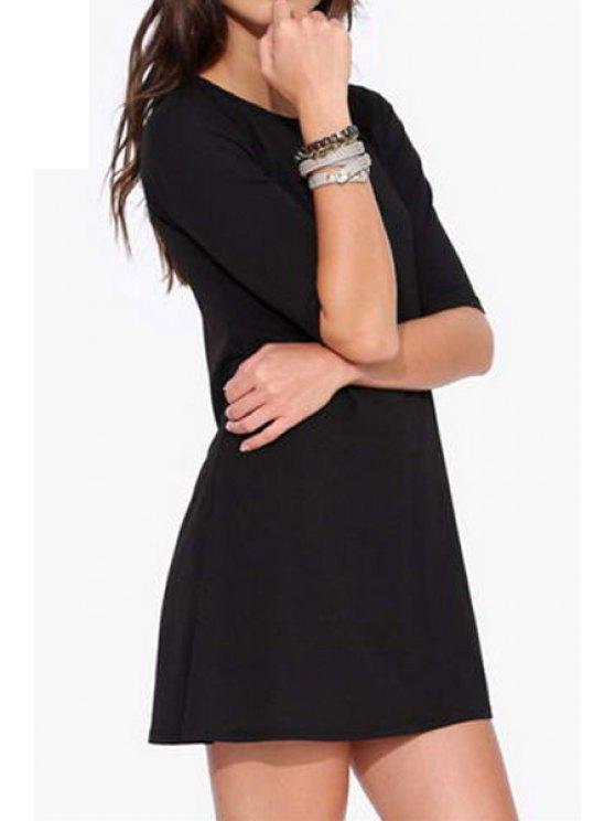 latest Jewel Neck Black Half Sleeve Dress - BLACK S