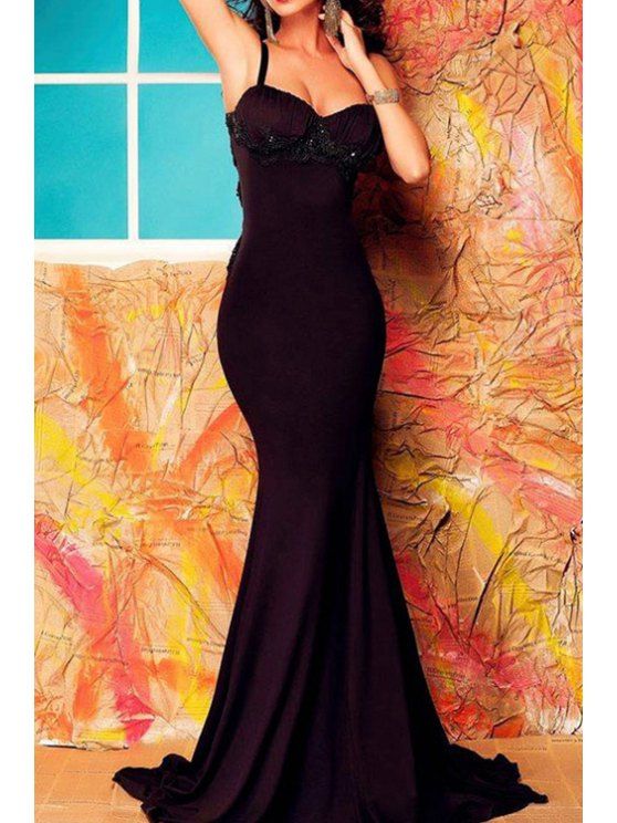 buy Lace Spliced Open Back Ruched Fishtail Dress - BLACK ONE SIZE(FIT SIZE XS TO M)