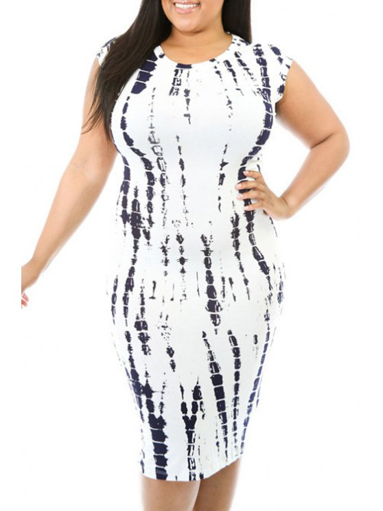 online Abstract Print Cut Out Plus Size Bodycon Dress - WHITE 2XL