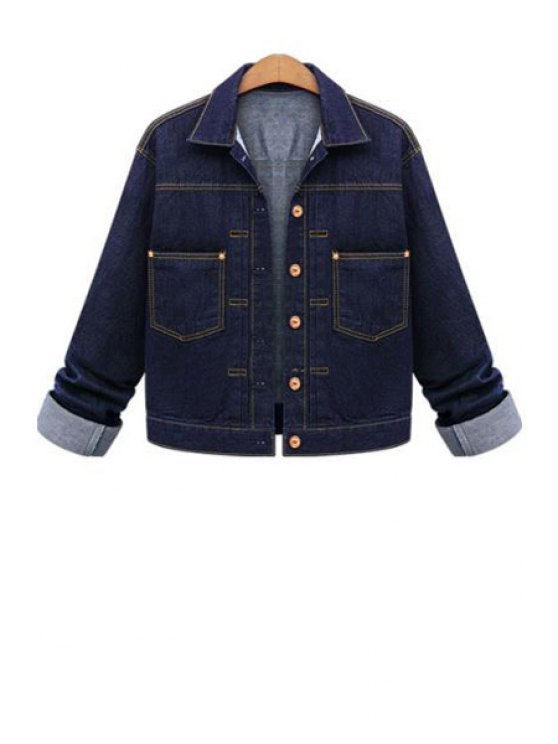 women Blue Denim Turn Down Collar Jacket - BLUE ONE SIZE(FIT SIZE XS TO M)