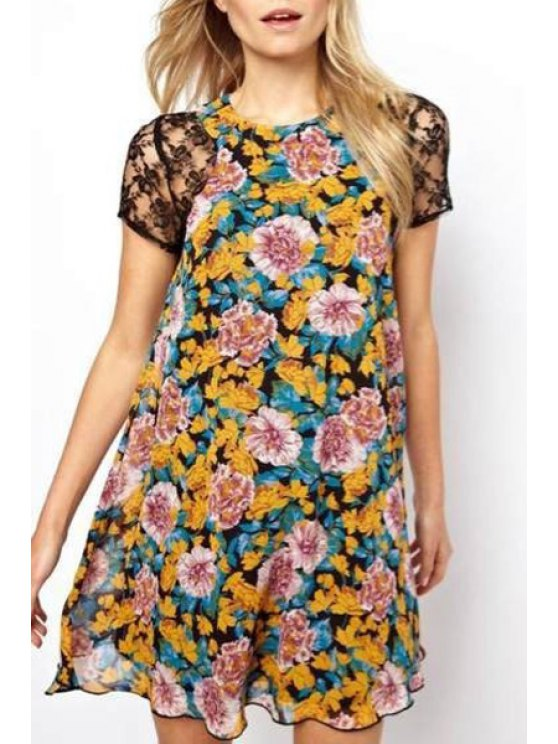 shop Floral Print Short Sleeve Round Neck Dress - COLORMIX ONE SIZE(FIT SIZE XS TO M)