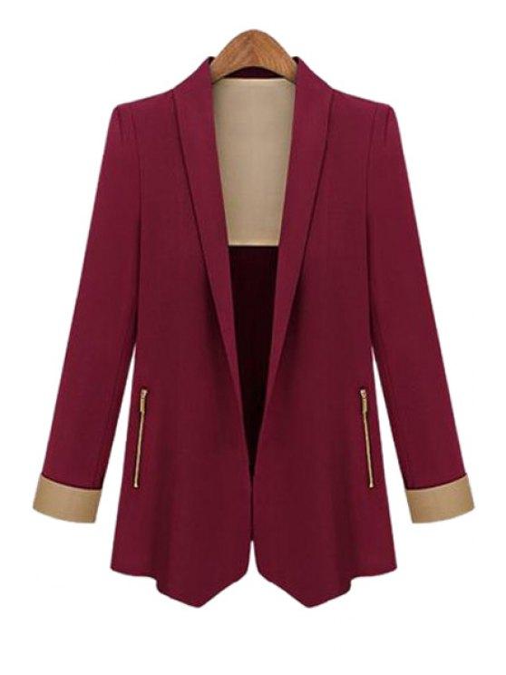 best Color Block Shawl Collar Long Sleeve Blazer - WINE RED S