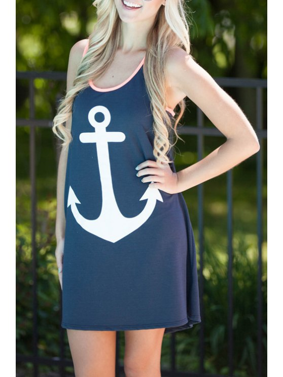 chic Anchor Print Scoop Neck Sundress - CADETBLUE S