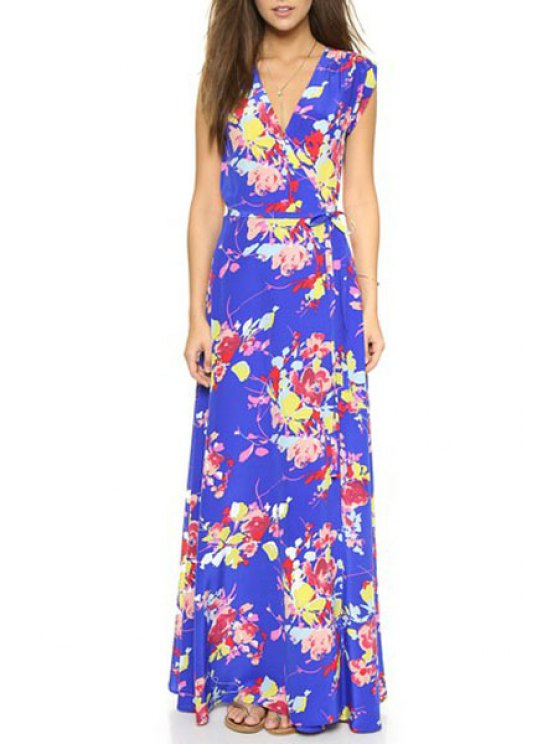 shops Floral Plunging Neck Sleeveless Maxi Dress - BLUE S