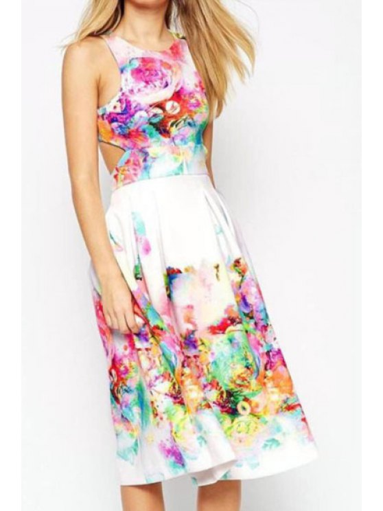 shop Sleeveless Crop Top and Floral Skirt Suit - WHITE S