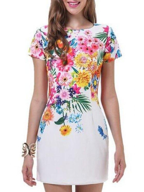 latest Floral Jewel Neck Short Sleeve Dress - WHITE S