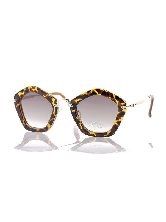 Leopard Pentagonal Frame Sunglasses - Marrón Oscuro