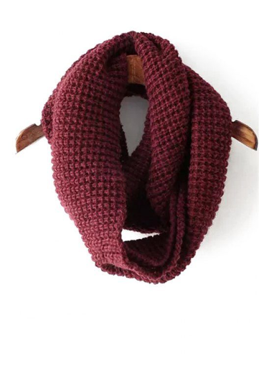 outfit Solid Color Knitted Infinite Scarf - WINE RED