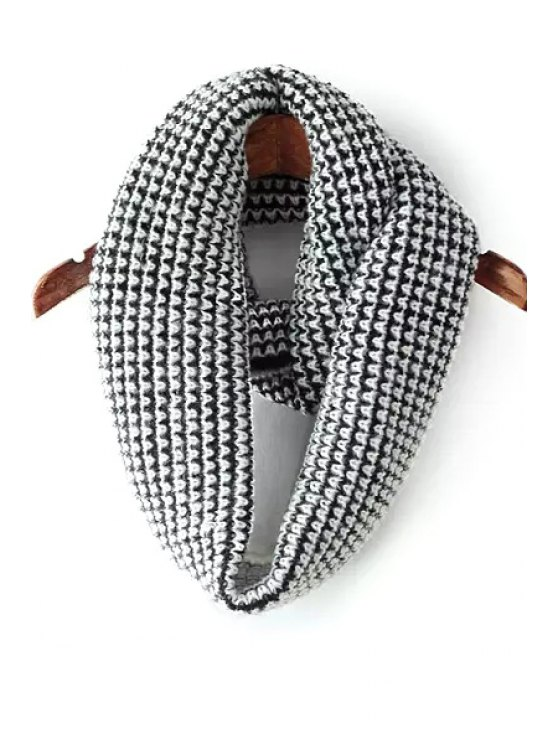 latest Color Splice Knitted Infinite Scarf - WHITE AND BLACK