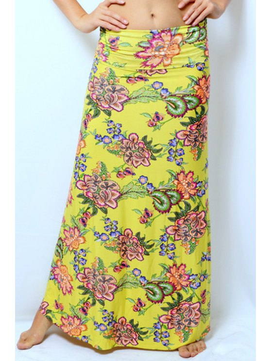 buy Colorful Floral Print Skirt - YELLOW S