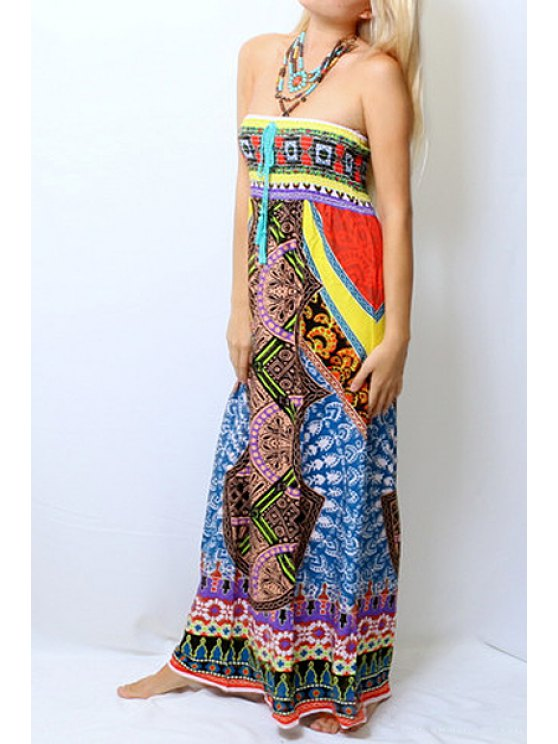 shops Strapless Color Block Printed Sleeveless Dress - COLORMIX S