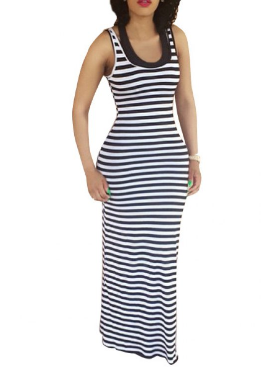 shop Scoop Neck Striped Fitted Maxi Dress - WHITE S