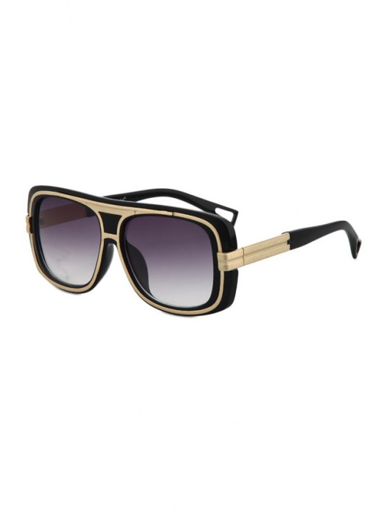 fancy Metal Inlay Black Frame Sunglasses - BLACK