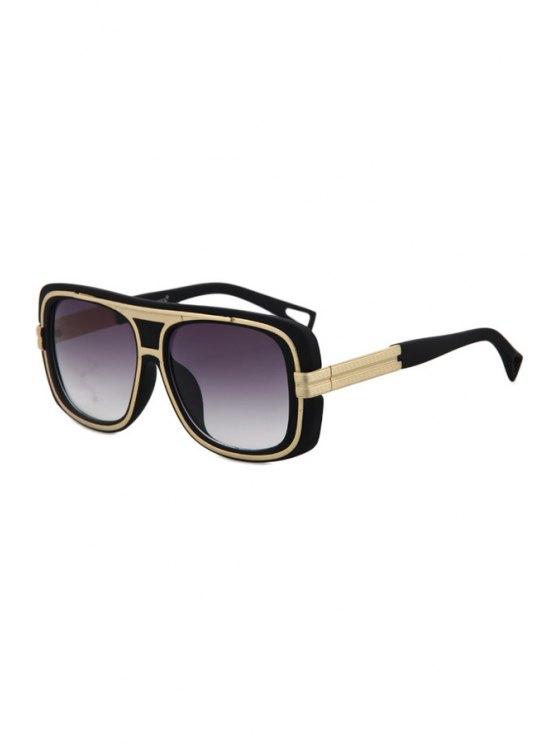 unique Metal Inlay Matte Black Frame Sunglasses - BLACK