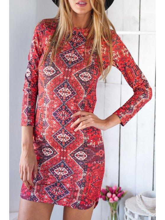 shop Ethnic Print Irregular Hem Bodycon Dress - RED S