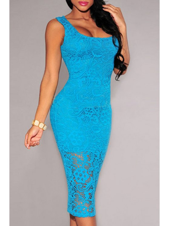 affordable Full Lace Sleeveless Bodycon Dress - BLUE M